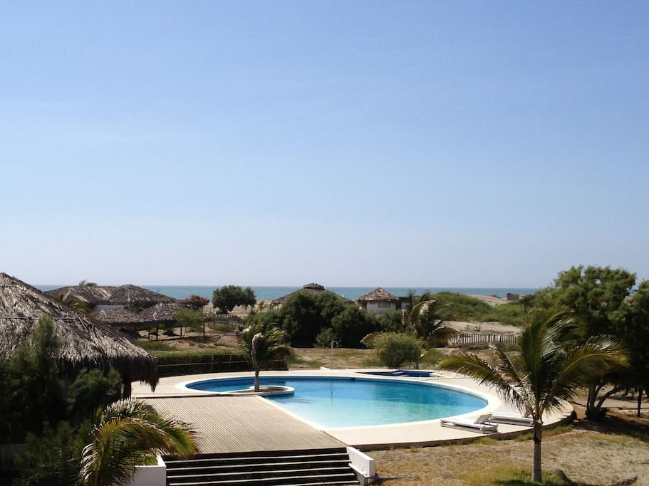 View of the pool and club house from our expansive decks