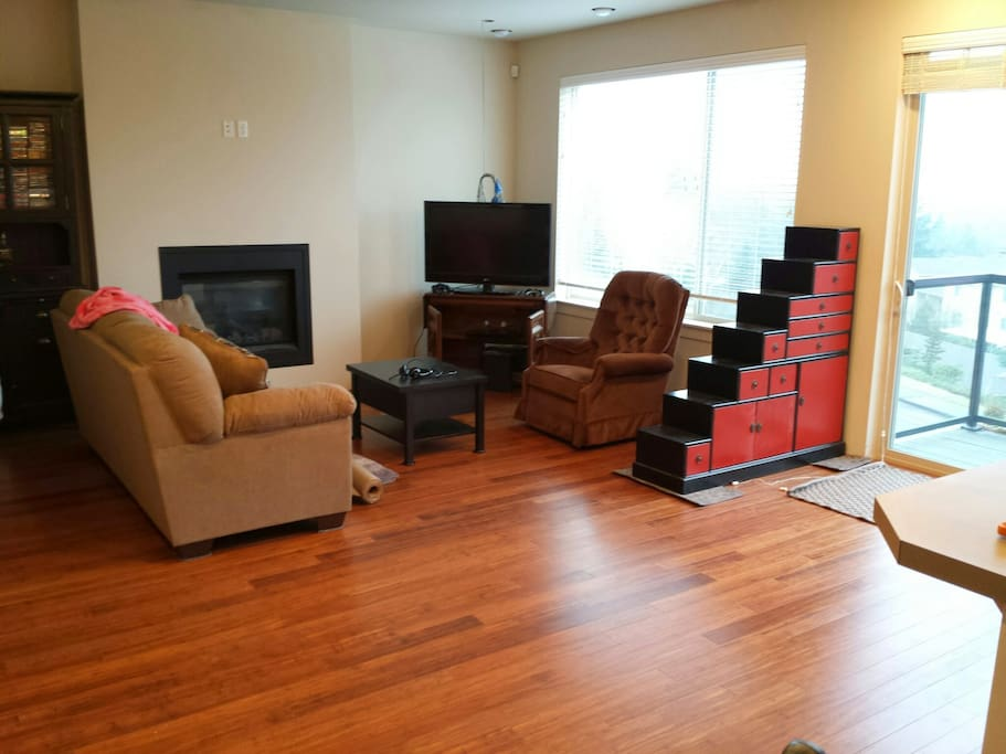 Hardwood floors and open concept make for an airy, pleasant space. No shoes inside, please!