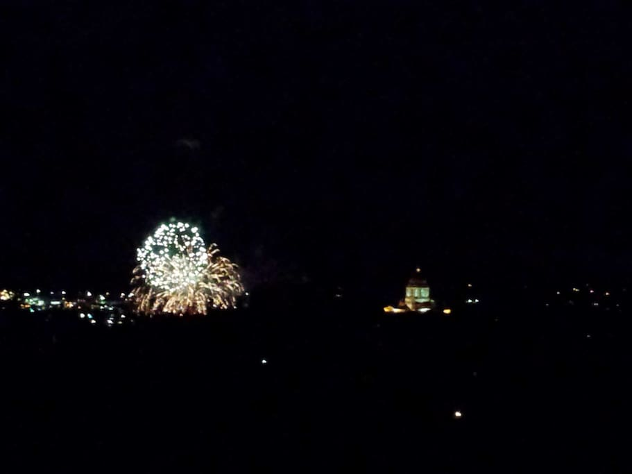 During the evenings, the Capitol building lights up. Fireworks not guaranteed.