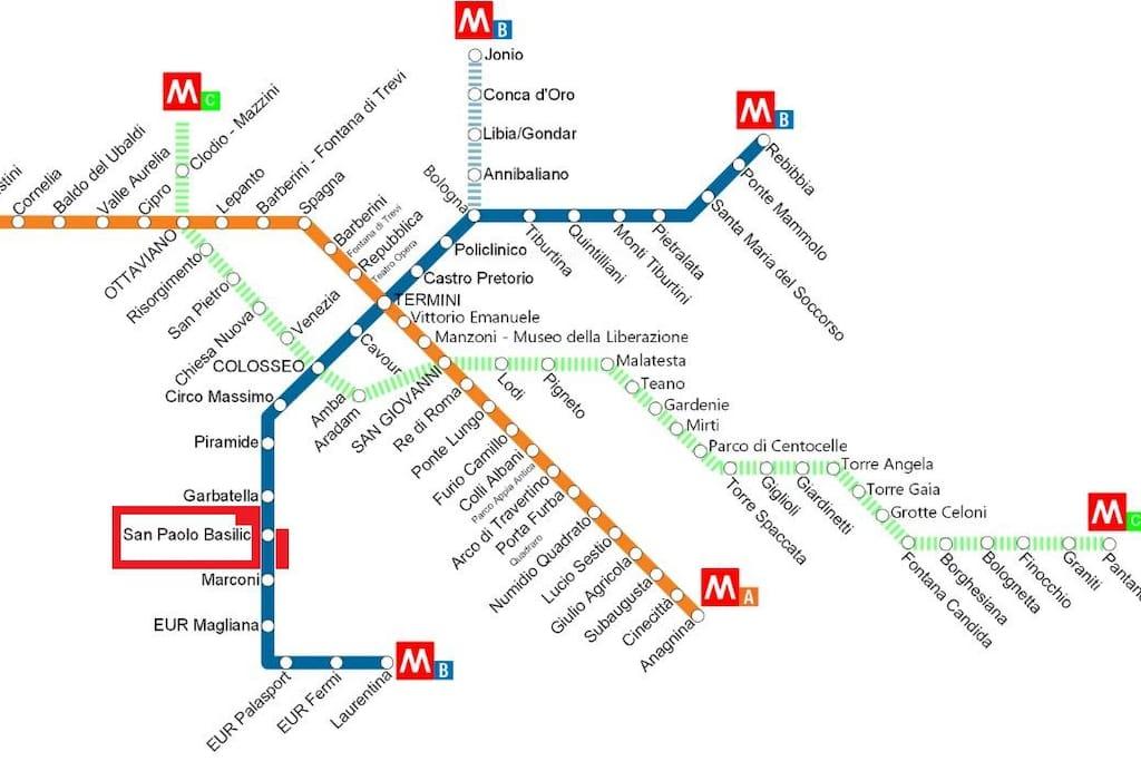 Metro 100 mt da casa Linea B