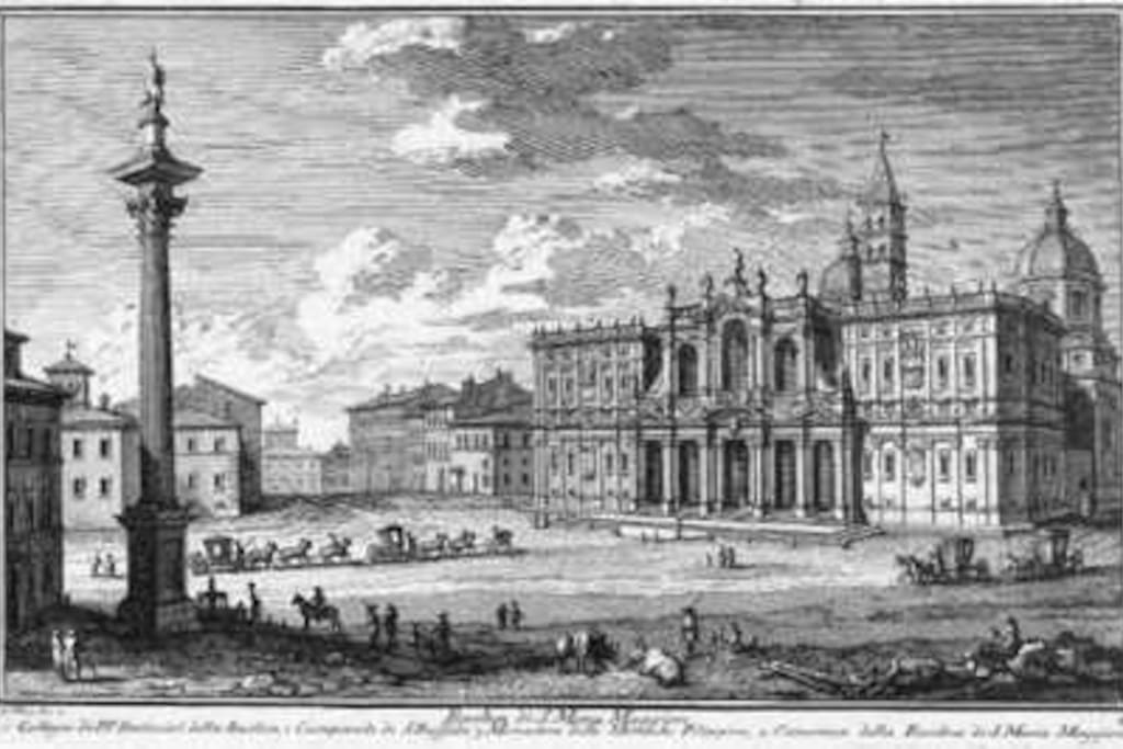 Ancient building in the painting of Giuseppe Vasi 1746