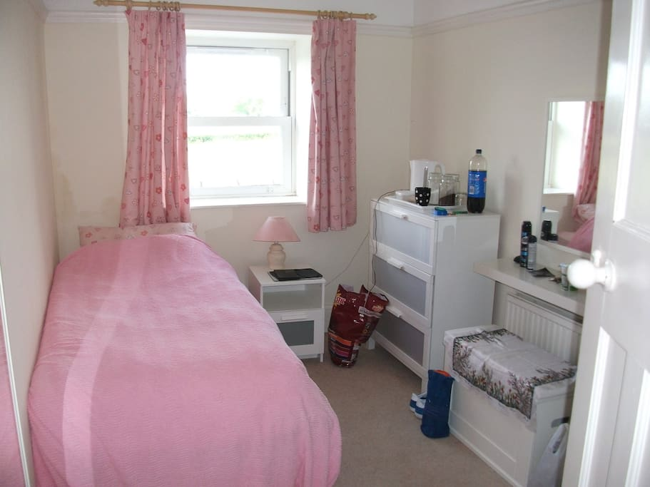 Single room with use of family bathroom.
