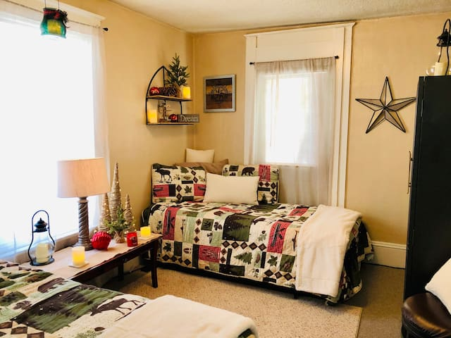 Two twin beds in this snuggly room!