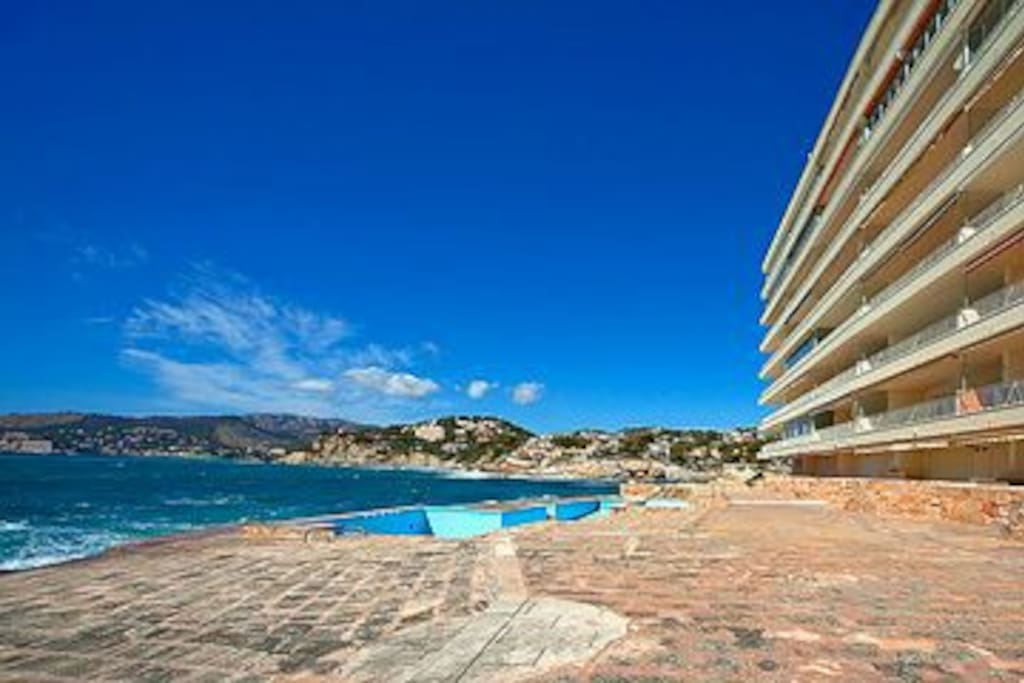 private complex with saltwater pool