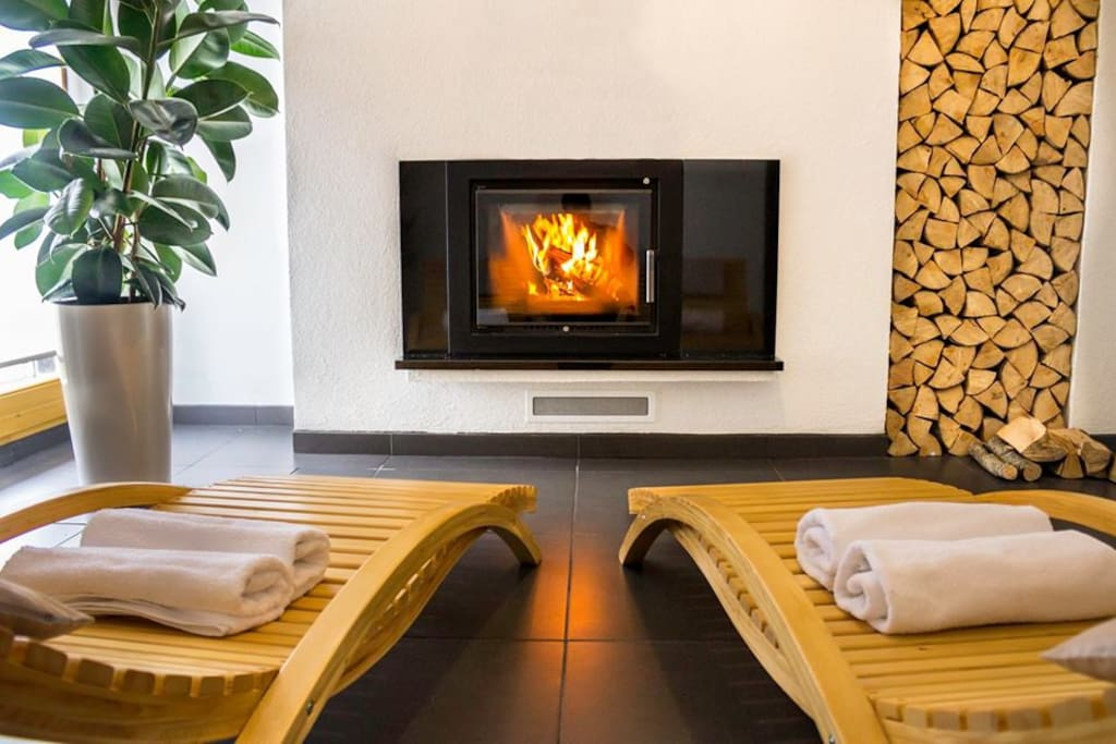 Fireplace, relax area