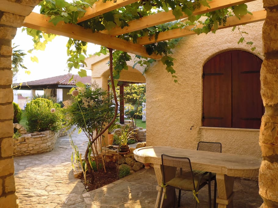 View from the door of the apartment, the stone table under the grape vine is free to be used by you!