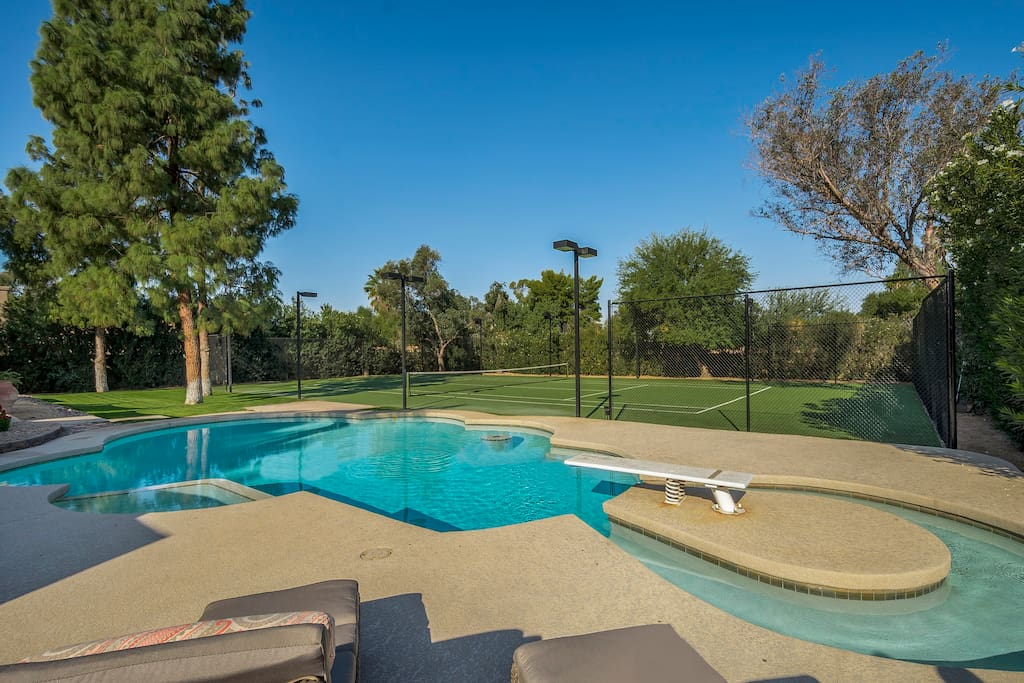 3/4 Quarter Acre Private Backyard with Heated Saltwater Pool & Tennis Court!