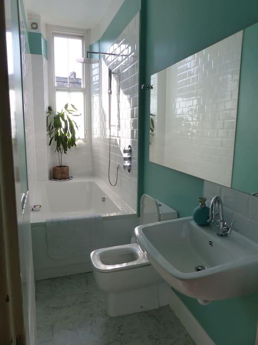 Modern bathroom with rainhead shower over huge double ended bath