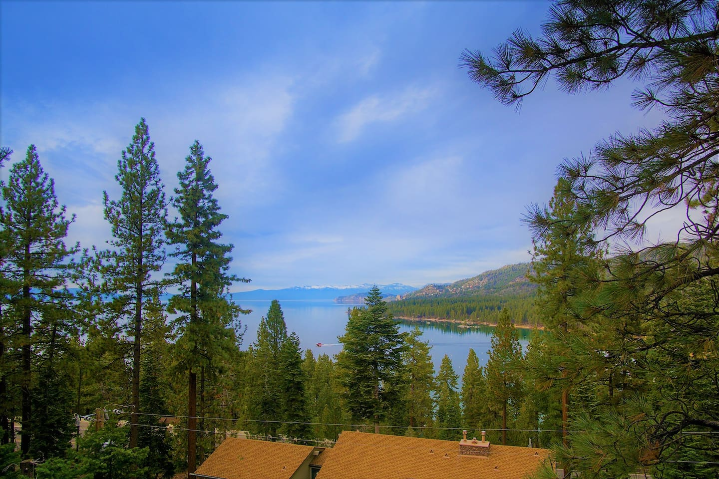 Million dollar view of Zephyr Cove. You can even watch the ferry come in and out of the bay.