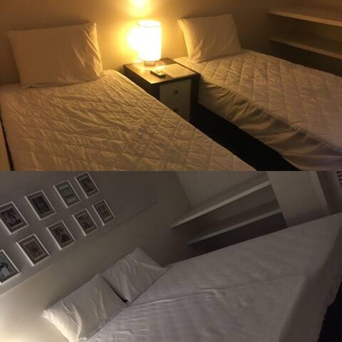 Quarto 2 tem a opção de camas separadas(2 solteiro 90x190cm) ou juntas (casal 180x190cm)