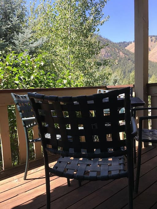 Covered deck with view of Baldy