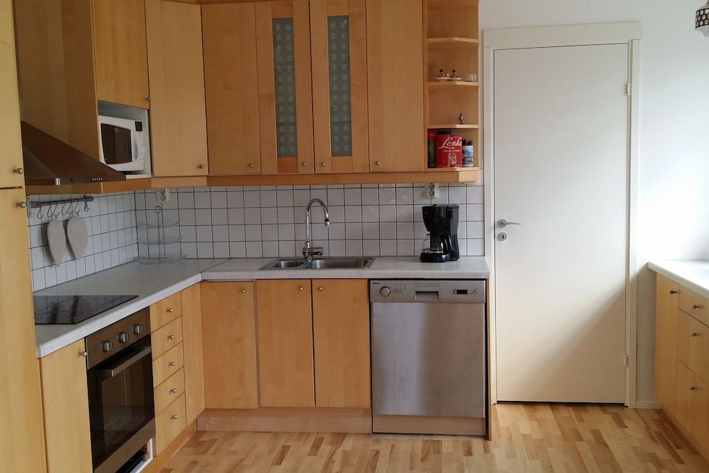 Kitchen with all utensils provided.