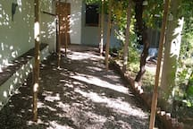 Use the patio under the vine trees for chilling