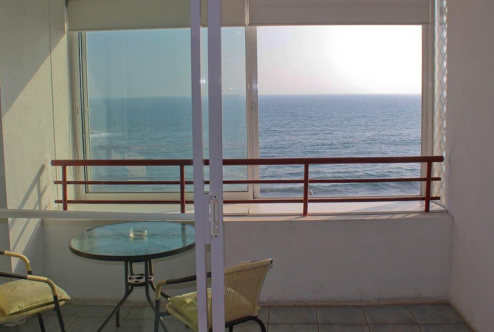 terraza con vista panorámica al mar