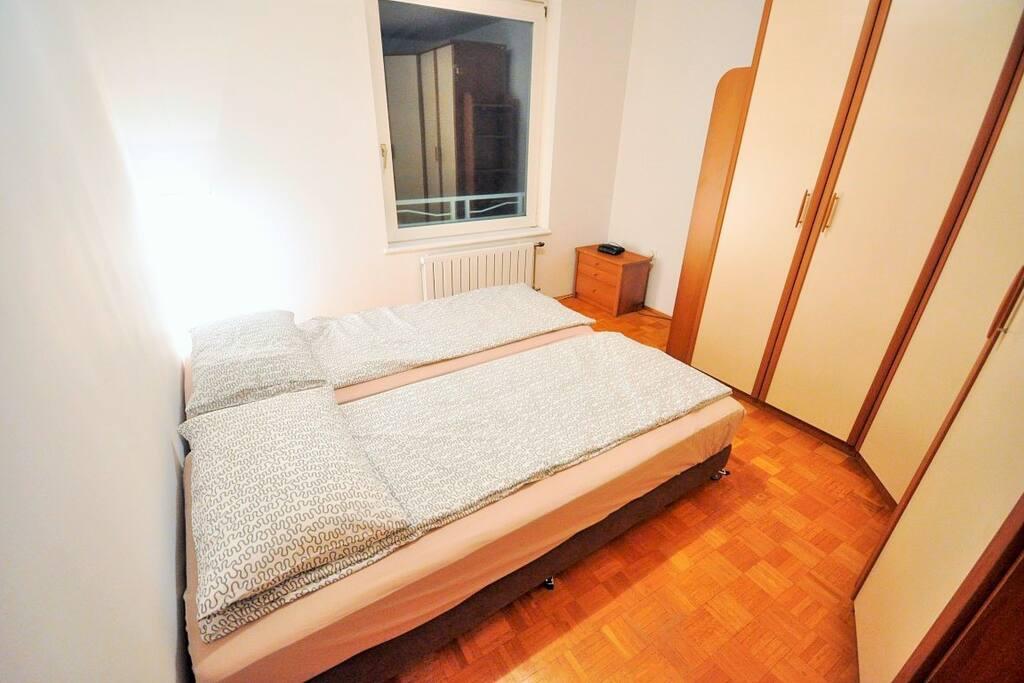 Smaller room, double bed arrangement