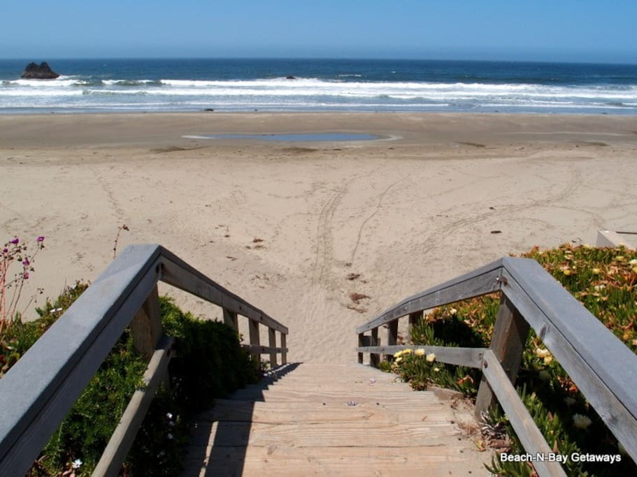 These step to the beach are right out your front door.