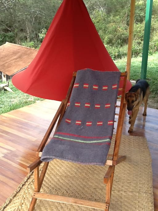 New red, large cacoon with a 6-ft. base