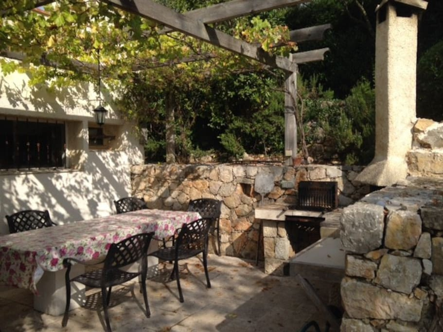 Outdoor eating and summer kitchen