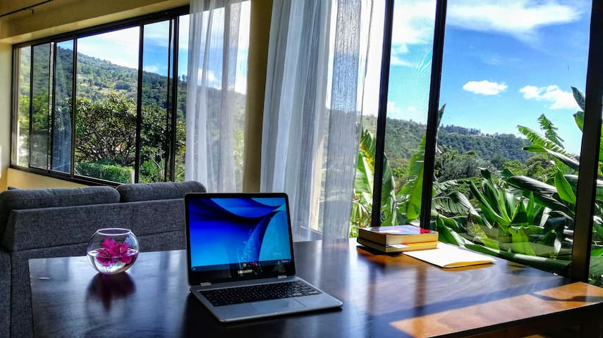 workplace with view over the Boquete Valley in the living room