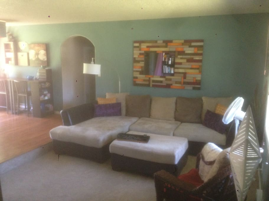 Big comfy couch in our cozy living room
