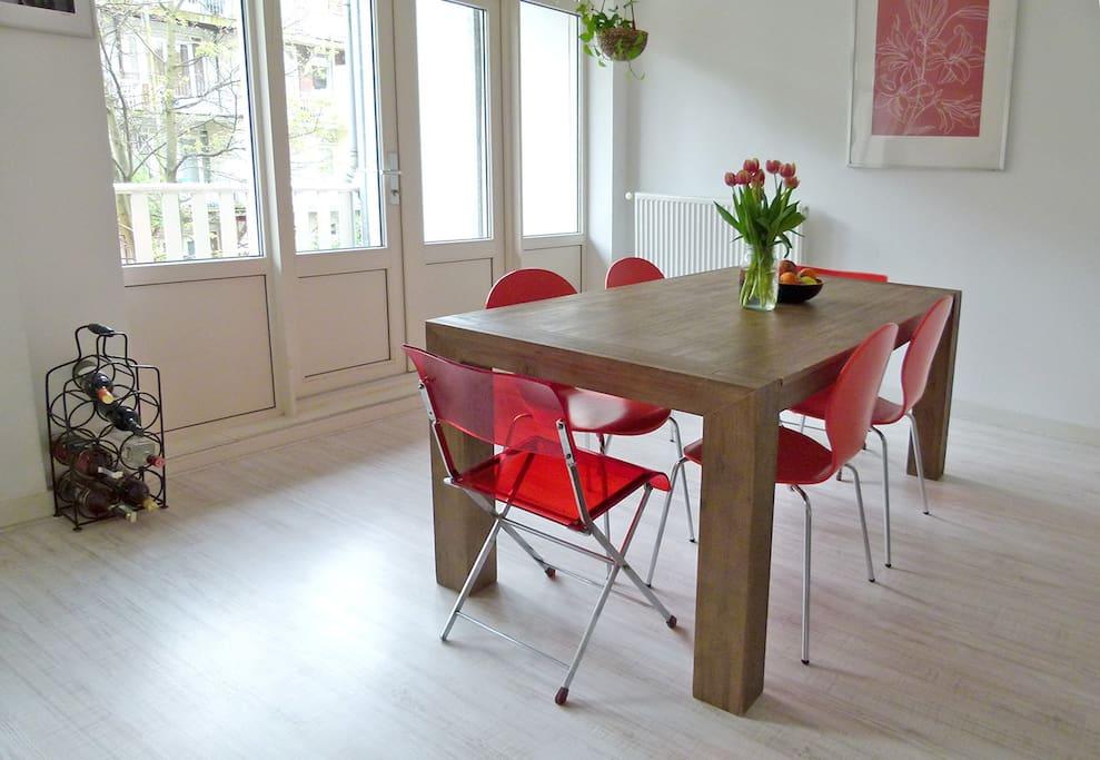 Sturdy and long table in the big kitchen.