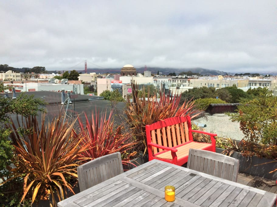 Remodeled rooftop with lounge chairs, grill, mini fridge, etc.