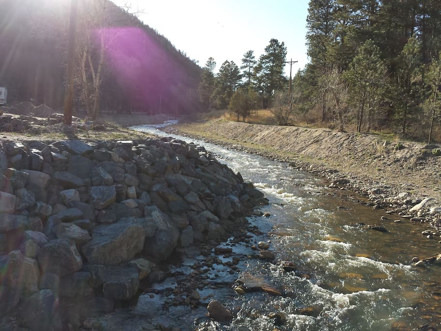 The property is located at the edge of the Big Thompson River