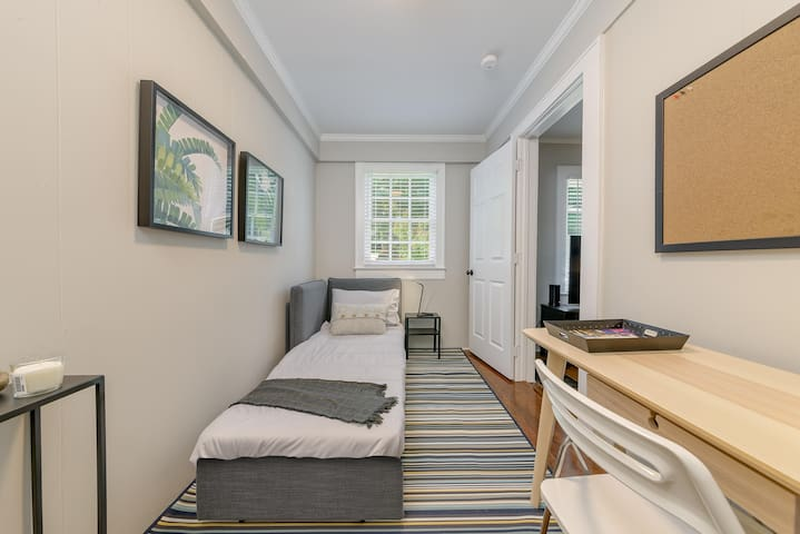 Third (small) bedroom/study with comfortable, single (twin) sofabed;  linens/comforter for sofabed will be found in closet