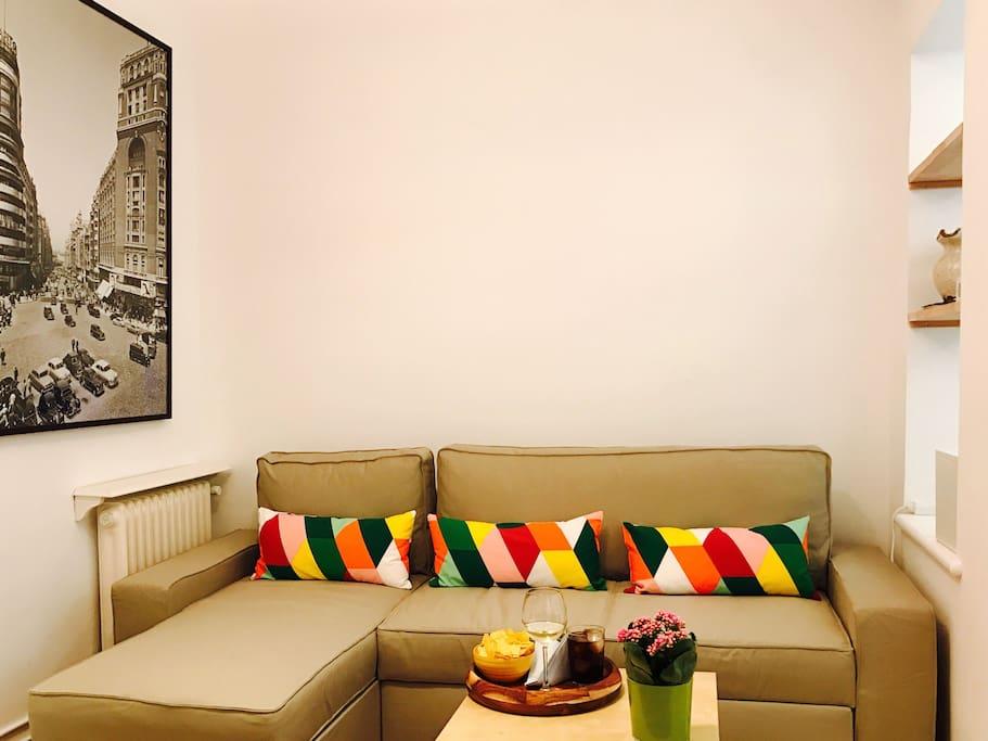 Zona de estar con sofa cama