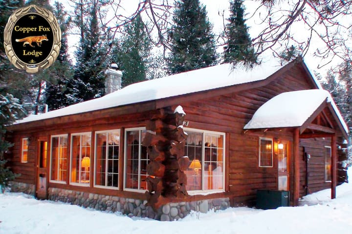 Fairy Tale Winter Wonderland Riverfront Log Cabin