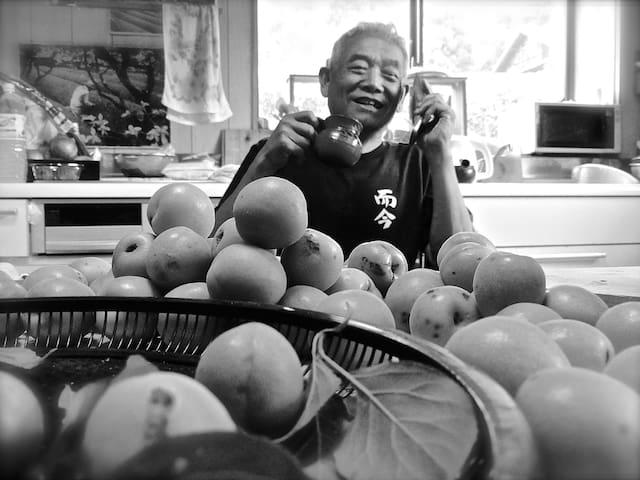 The very likable Mr Kurosawa, your host .Seen here preparing Ume-shu(plum wine) from freshly picked plums.
