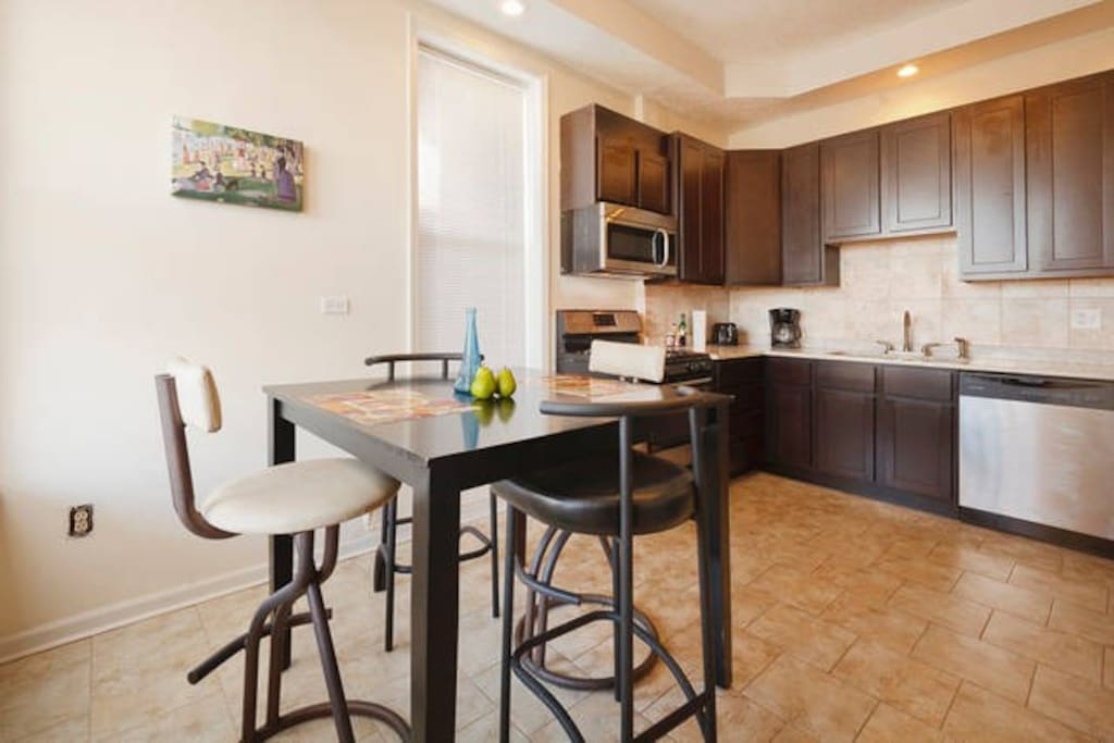Each of the eat-in kitchens have granite counter tops, and plenty of room for the gourmet chef!