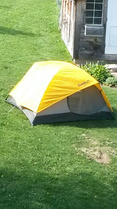 This is the tent we will set up for you but not the location. We prefer a gentle spot amid the apple trees out back.