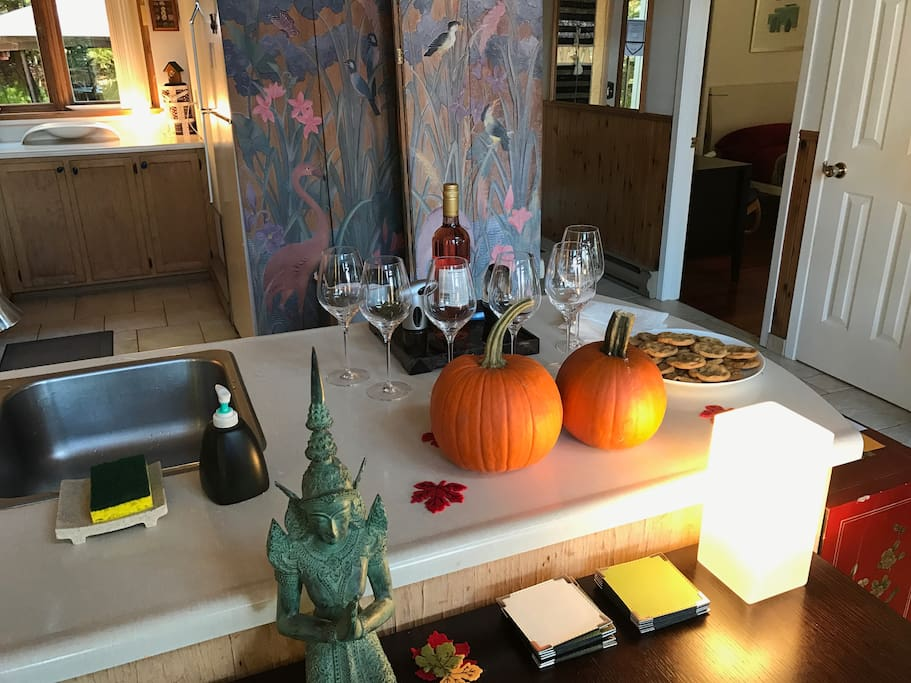 Seasonal welcome for guests: wine, cookies or fruit, or according to the inspiration of the moment.