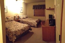 Two comfortable queen beds, microwave and coffee maker