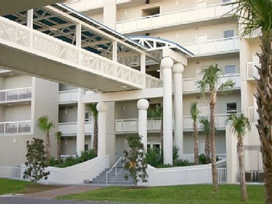 Resort entrance and skywalk to parking garage