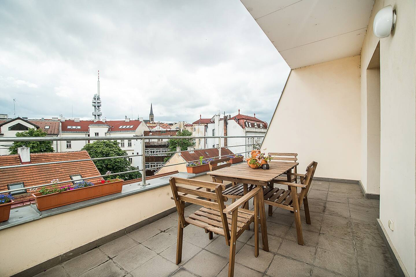 Amazing view of Prague with furnished terrace.