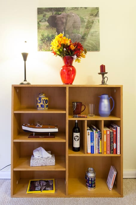 Bookshelf facing the bed. Fresh filtered water pitcher.