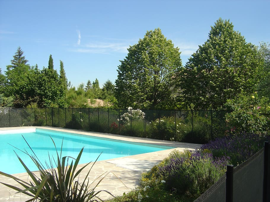 The pool is protected all around to avoid young children swimming unaccompanied.