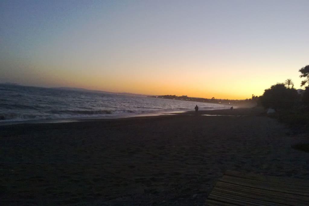 Sunset on local beach