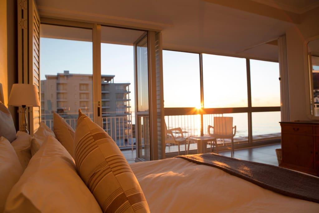 Main bedroom with sea views.