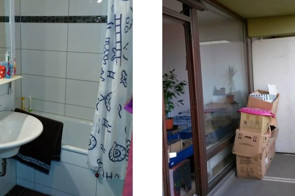 Das Bad/WC und der Balkon.