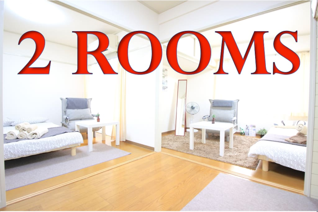 2 rooms and  best location. 2 semi-double beds and 2 sofa-beds. Walk to Namba / Shinsaibashi / Dotonbori / Americamura / Horie