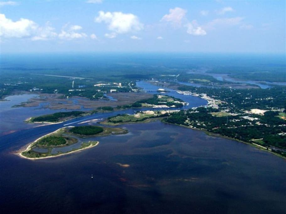 Aerial of Carrabelle from the southeast. All water or forest!