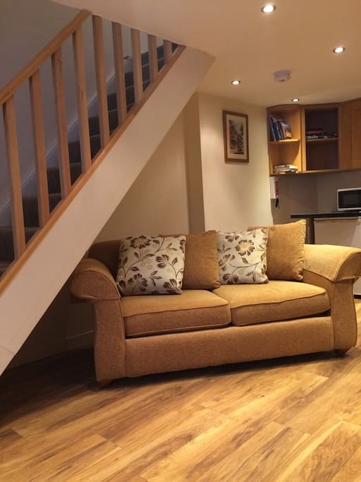 This is a newly renovated cottage that is open plan downstairs with stairs leading up to a bedroom and ensuite bathroom. Take care on the stairs as they are steep and fairly narrow.