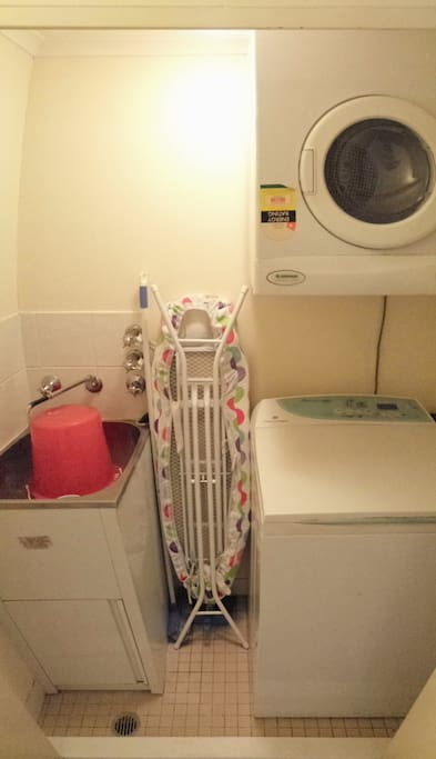 The laundry is on the first floor close to the kitchen. You can use it without additional costs.