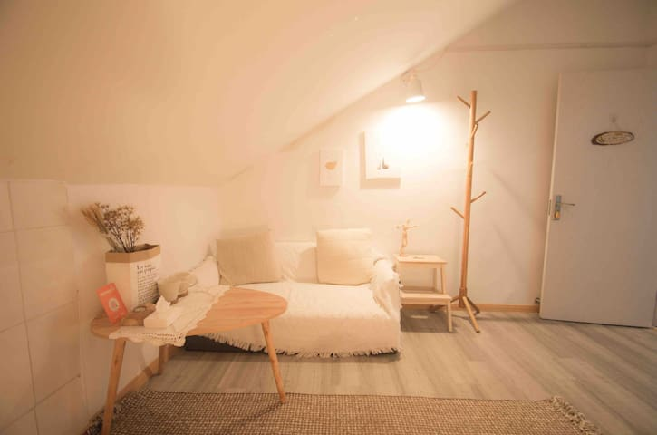 Cozy room in white/Cats&dogs/Attic room in Villa