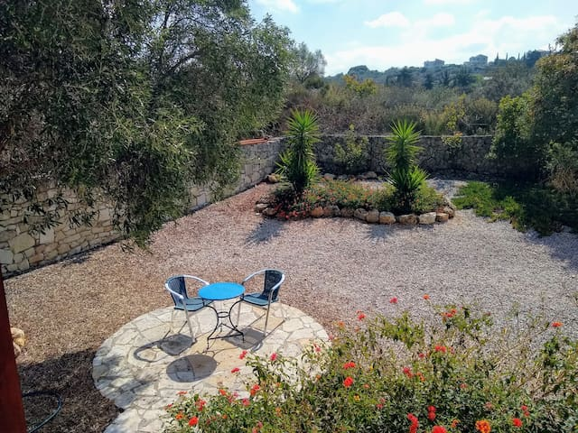 Rear garden - shade from the olive tree. G&T anyone?