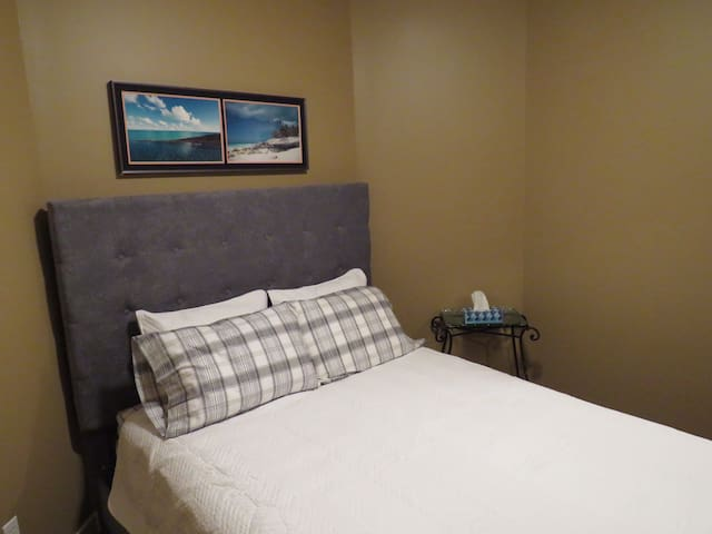 The queen-sized master bedroom is cool in summer, warm in winter, and dark (and quiet) at night.  This room features a dresser and mirror, and a spacious closet space.