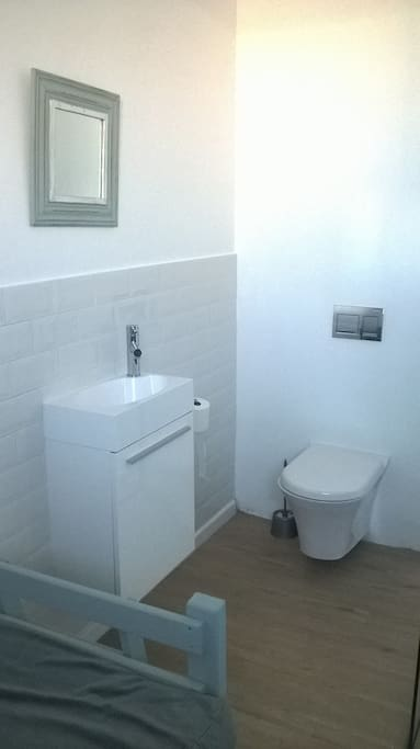 private toilet and sink of guest room